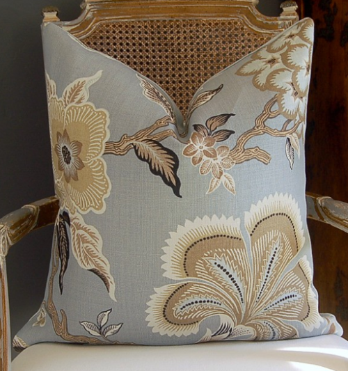 "This pillow is adorable in the ""Hot House Flowers"" linen printed fabric from Celerie Kemble's Collection for F.Schumacher., $90"