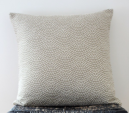 The khaki pebble beach fabric is a rayon, silk and poly blend with a stippled effect., $50