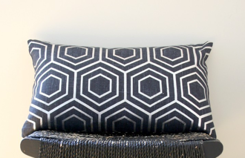 Cobolt blue linen is overprinted with an opaque silver, hexagonal grid pattern for a modern look., $