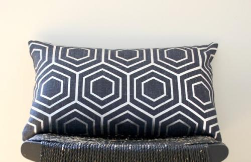 Cobolt blue linen is overprinted with an opaque silver, hexagonal grid pattern for a modern look., $