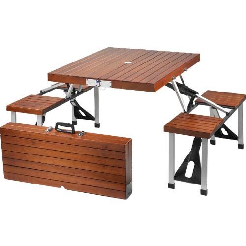 An handy dandy wooden folding picnic table that seats four!