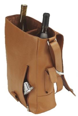 A must for the ardent wine connoisseur, this bag regally transports two bottles in well-padded splendor