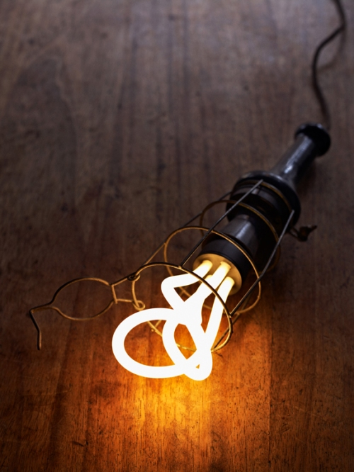 The artistic shape of an energy efficient bulb.