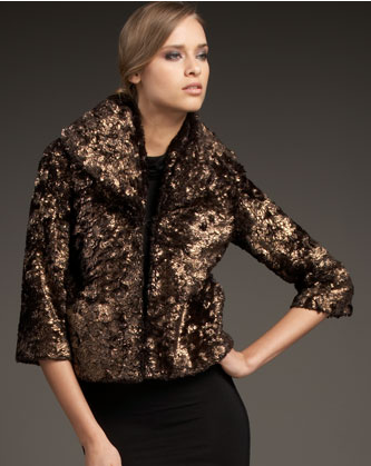 Alice + Olivia Metallic Faux Fur Jacket, $396, Bergdorf Goodman