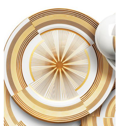 "Haviland ""Cible"" is inspired by the Art Deco Movement with uneven lines and starburst patterns begging for white pasta."