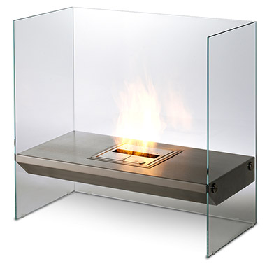 The distictive and original Igloo fireplace features a toughened glass surround that conveys a 'disappearing' effect.