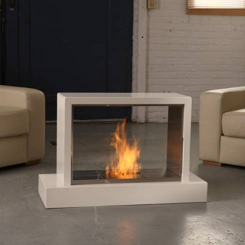 The attractive Insight ventless fireplace can be viewed from both sides.