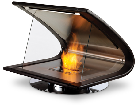 The Zeta fireplace is a clever fusion of timber, leather and stainless steel that sits on a swivel base. A design winner!