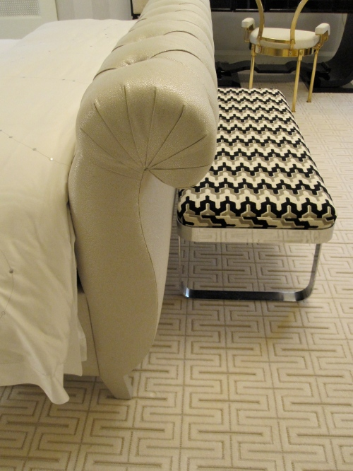 The upholstery on the bed had a pearlized quality to it and the zig zag on the bench was really the first piece that caught my eye. Great combination!