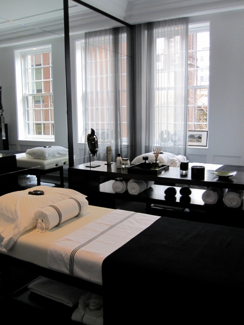 Jennifer Post commanded much attention with the entire top penthouse of the home. The massage room already has a waitlist until 2012. If this were real life, this striking room with its black and white ensemble would have the most requested tables in the place.