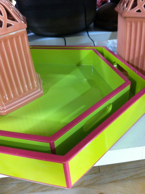 Palm beach green and fuschia pink octagon tray
