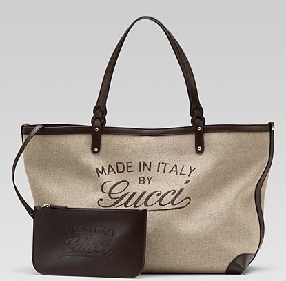 A Gucci tote as a perfect carry-on or beach bag