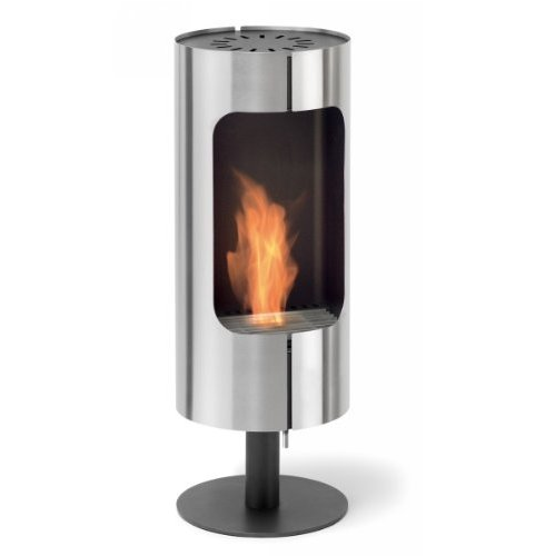 The Blomus Stand Alone Fireplace has a revolving design and a clean, simple and glamorous look.