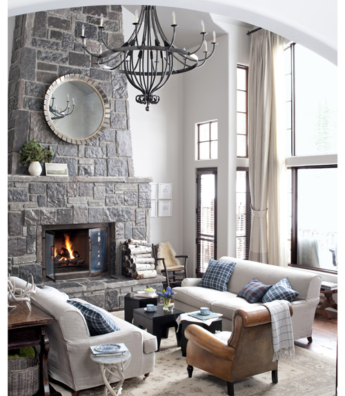 I love camel colored leather and the texture of vertical stone fireplaces!