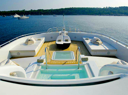 pool jacuzzi deck on modern design boat yacht
