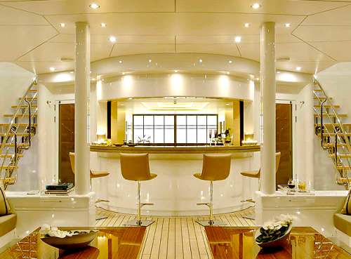 lounge and bar on modern design boat yacht