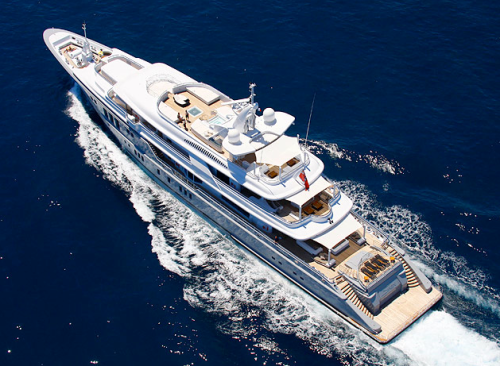 aerial view of modern design boat yacht