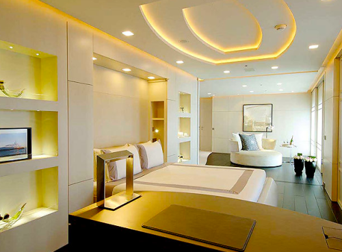master bed room on modern design boat yacht