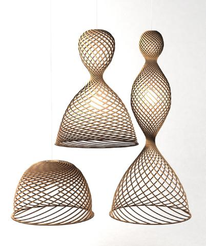 Contemporary rustic decor spiral lamps shade