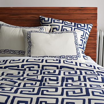 Greek Key Bedding West ELm Indigo
