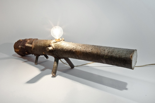 wood recycle lamp lighting sculpture