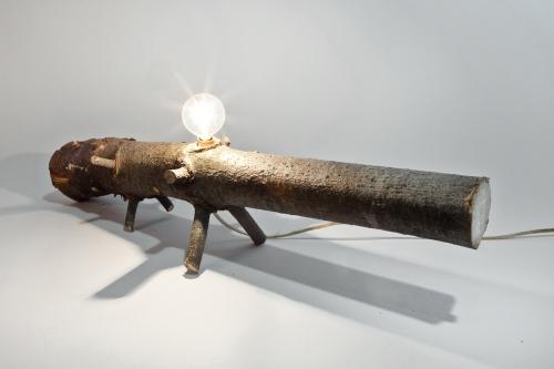 wood recycle lamp lighting sculpture