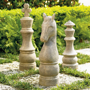 stone cast chess pieces art
