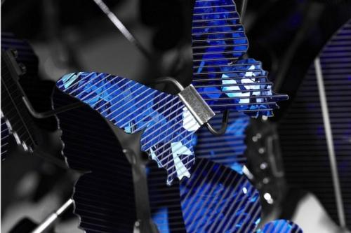 blue butterfly solar chandelier
