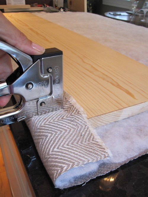 fabric and wood cornice stapling