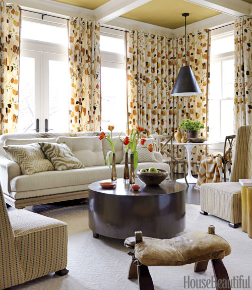 Mustard suede paint and drapery Barry Dixon living room