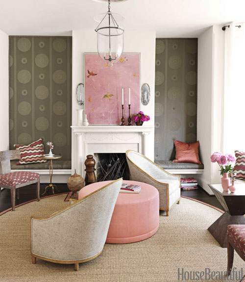 Barry Dixon living room with pink or roman and nailhead custom area rug