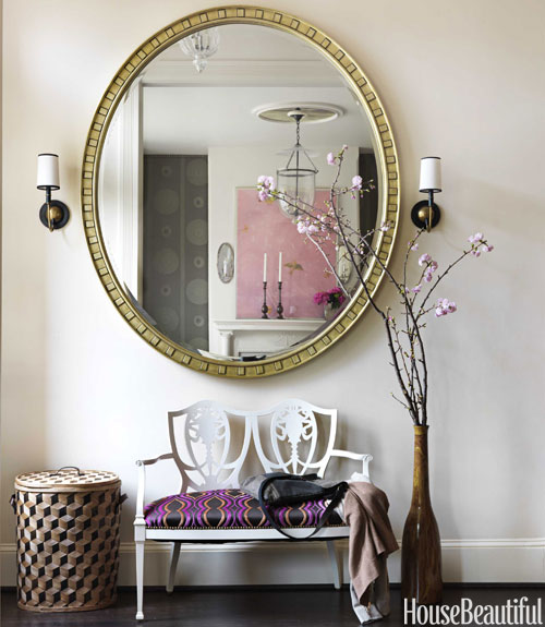 Barry Dixon settee round mirror pattern foyer