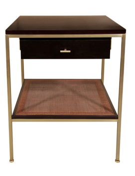 Ebony, brass plated steel, and caned shelf table, 1st Dibs