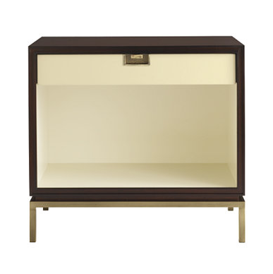 Madmen meets Megan. Yes, I adore this nightstands masculine shapes, warm finishes and illuminated stooge cubby. And hats off to local designer Thomas Pheasant. | Baker