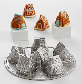christmas cake pan village gingerbread house