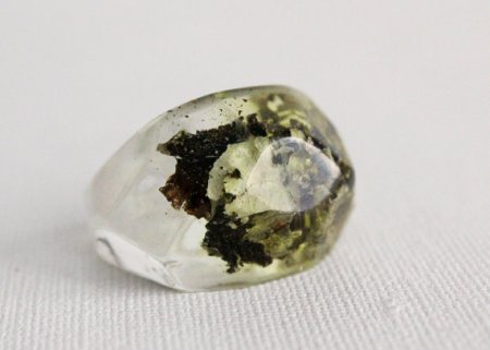 pacific northwest lichen eco resin pebble shaped ring