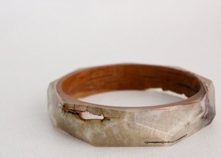 Birch bark eco resin bangle with polygon facets.