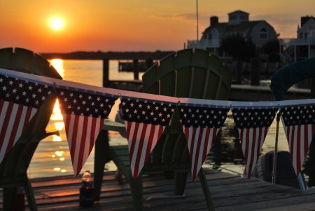 Sunsets, stars and Stripes on the festive dock where we watched Oxford fireworks.