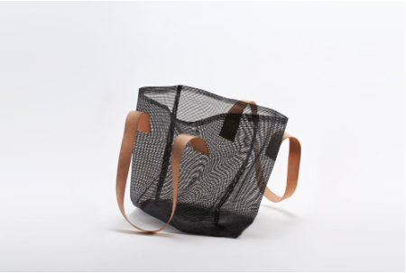 black mesh air tote bag with leather strap