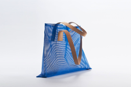 blue mesh air tote bag with leather strap