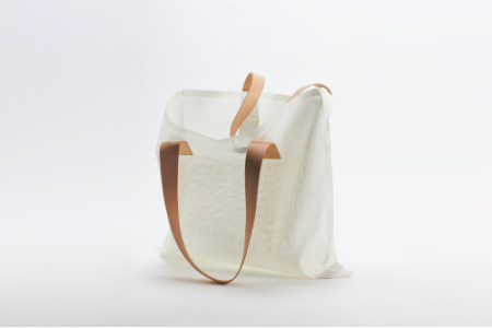 white mesh air tote bag with leather strap