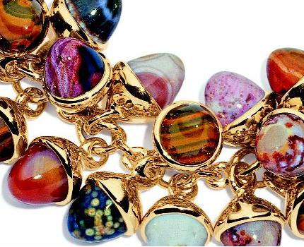 rose gold bracelet chain charm stone