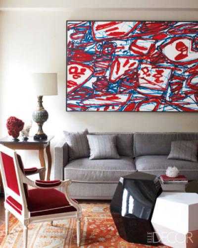 red white blue interior design modern