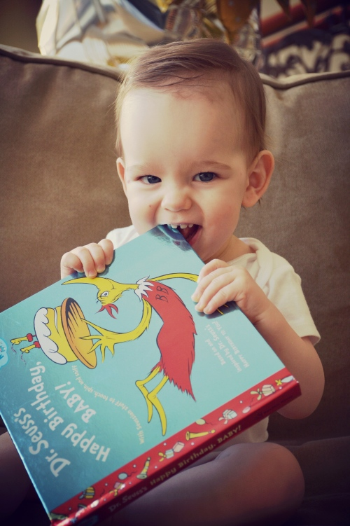 Dr. Suess, 1st birthday, 12 months, baby, book, smile